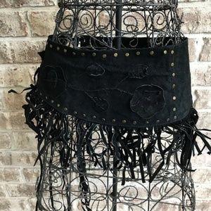 Black Suede Leather Fringe Belt NWT Cowgirl Boho